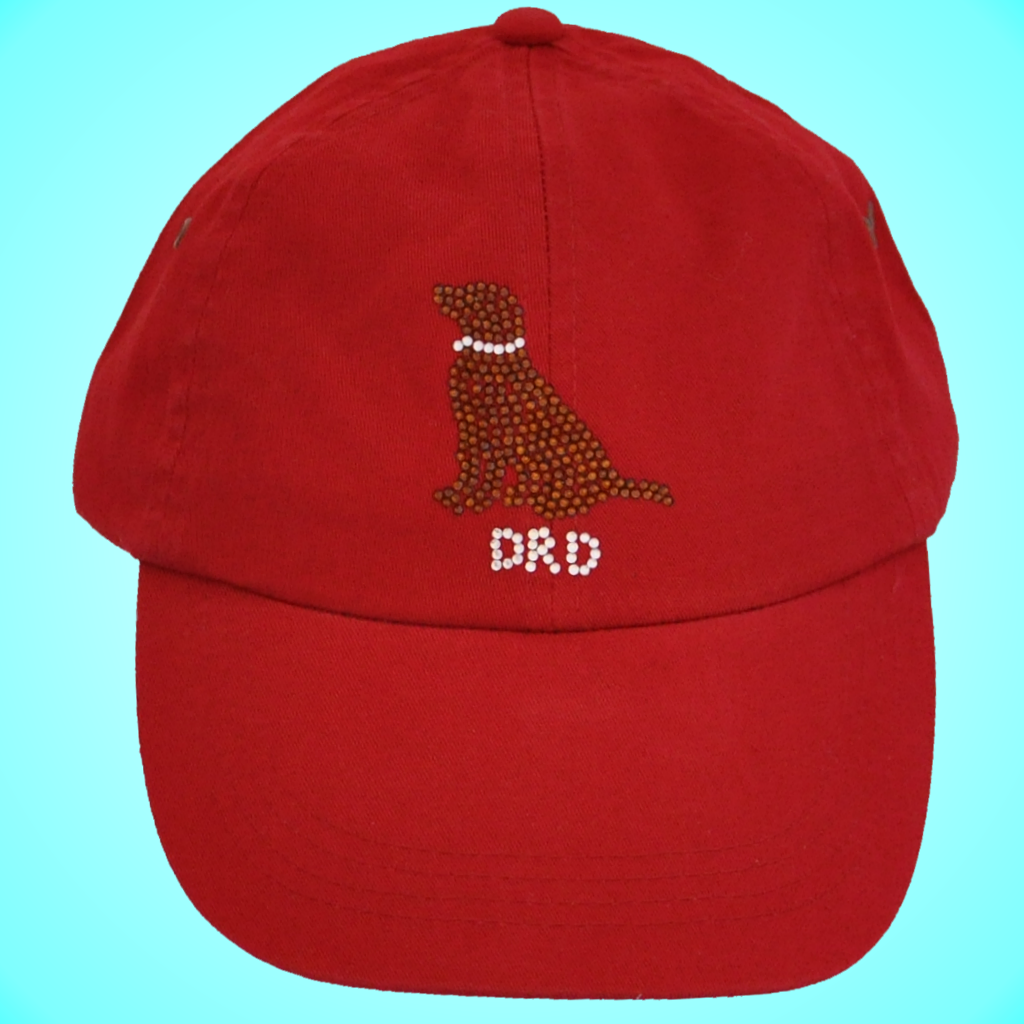 Chocolate Baseball Cap: Chocolate Lab Red Baseball Cap With Monogram