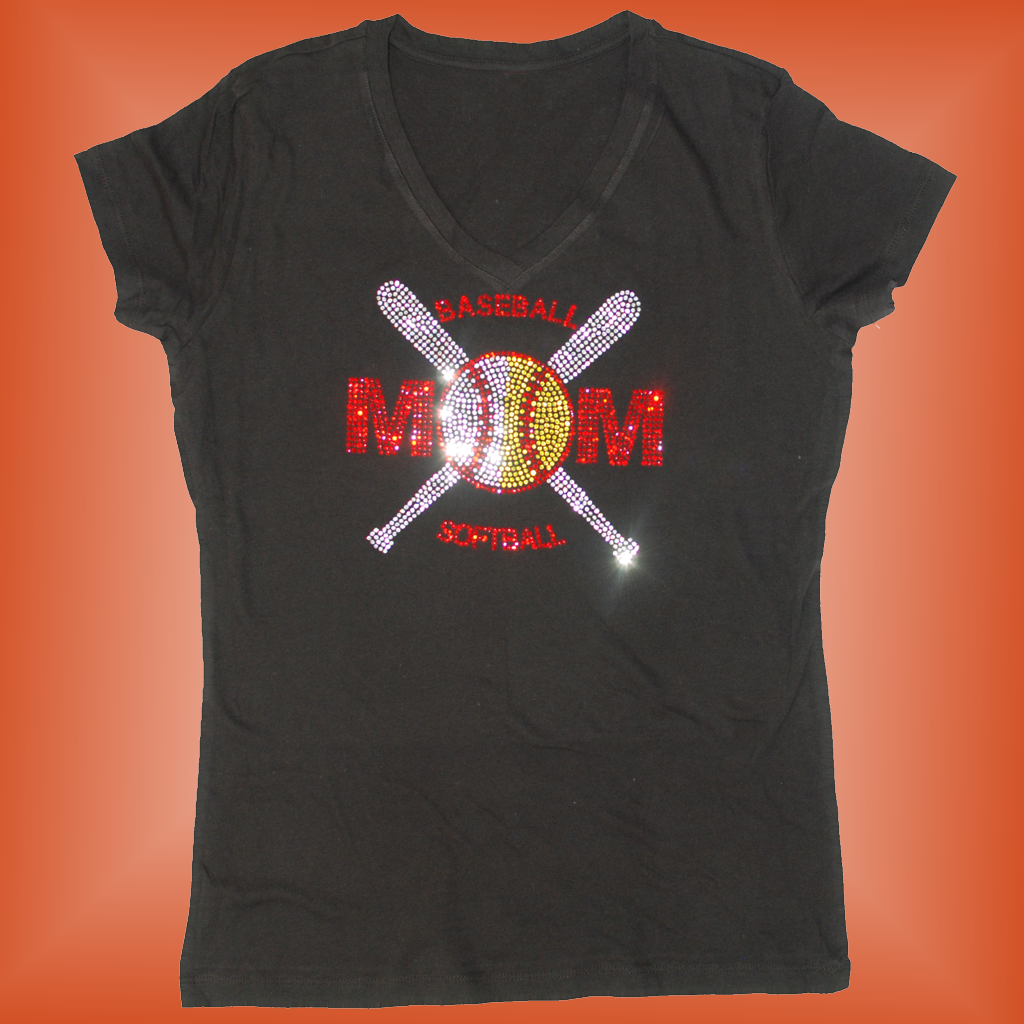 429bf6317 Baseball Softball Mom Crossed Bats Bling T-Shirt - Sparkle Gear